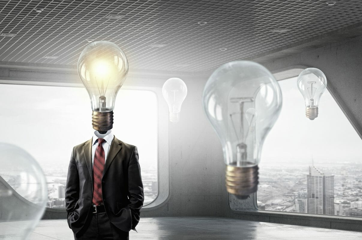 man in suit with light bulb head bright after racetams